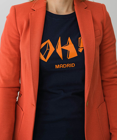 oh madrid chica chaquetanaranja - Camiseta Mujer OH! MADRID Azul Marino