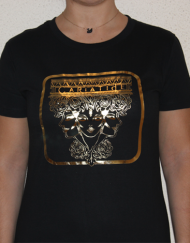 cariatide negra  190x243 - Camiseta Mujer CARIÁTIDE Oro y Negro