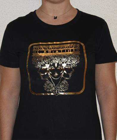 cariatide negra  - Camiseta Mujer CARIÁTIDE Oro y Negro