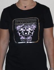cariatide plata 190x243 - Camiseta Mujer CARIÁTIDE Negro y Plata