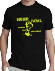 MUJER NEGRA AMARILLO 190x243 - Camiseta MUJER FATAL NEGRA Amarillo