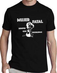 MUJER NEGRA BLANCO 190x243 - Camiseta MUJER FATAL NEGRA Blanco